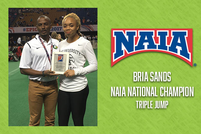 Photo for Sands Wins Triple Jump National Championship at NAIA Indoor Championships